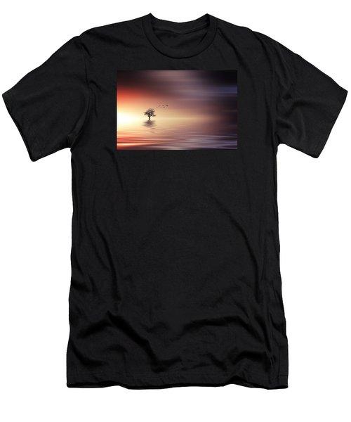 Tree And Birds On Lake Sunset Men's T-Shirt (Slim Fit) by Bess Hamiti