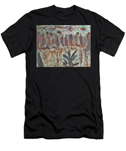 Tree Facing Frozen Lake With Roiling Storm Clouds Rolling In From The Mountain Range Winter With Fal Men's T-Shirt (Athletic Fit)