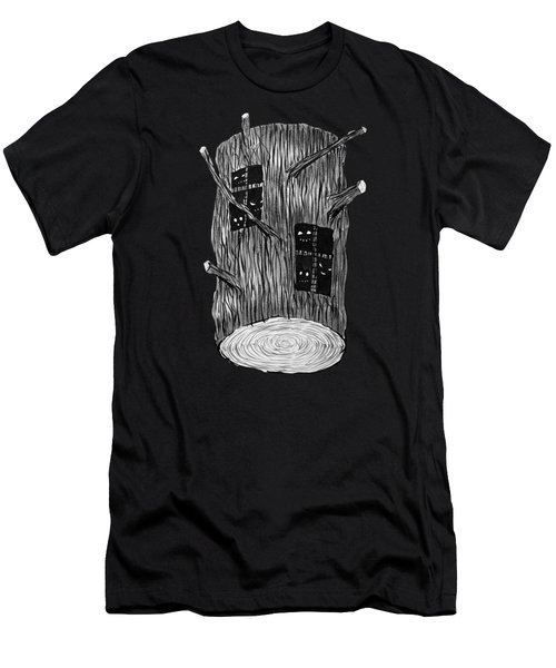 Tree Log With Mysterious Forest Creatures Men's T-Shirt (Athletic Fit)