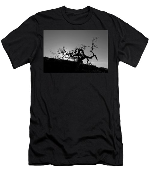 Men's T-Shirt (Athletic Fit) featuring the photograph Tree Of Light Silhouette Hillside - Black And White  by Matt Harang