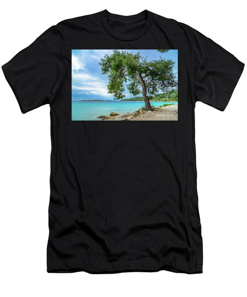 Tree On Northern Dalmatian Coast Beach, Croatia Men's T-Shirt (Athletic Fit)