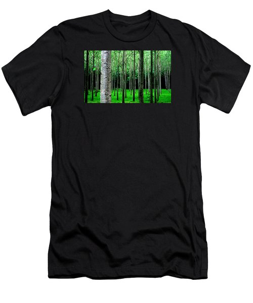 Men's T-Shirt (Athletic Fit) featuring the digital art Trees In Rows by Julian Perry