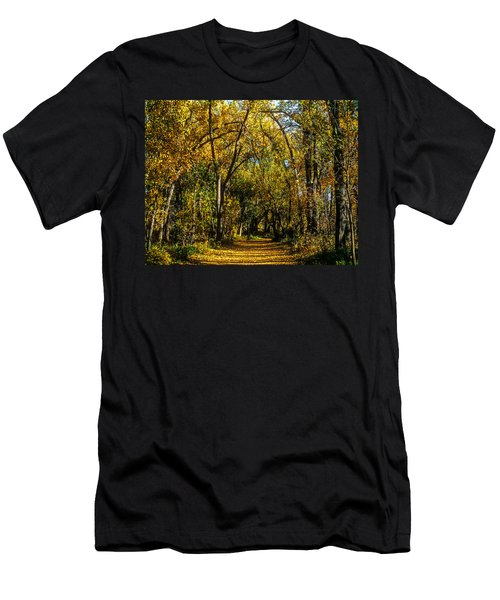 Trees Over A Path Through The Woods In Fall Color Men's T-Shirt (Slim Fit) by John Brink