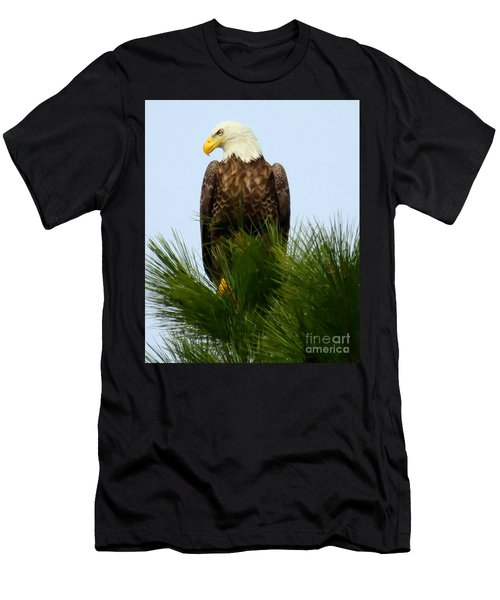 Men's T-Shirt (Slim Fit) featuring the photograph Treetop Eagle by Myrna Bradshaw