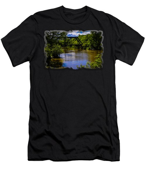 Men's T-Shirt (Athletic Fit) featuring the photograph Trestle Over River by Mark Myhaver