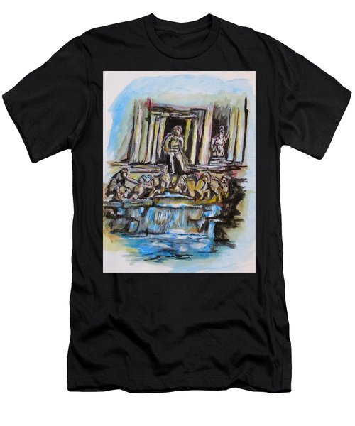 Men's T-Shirt (Athletic Fit) featuring the painting Trevi Fountain, Rome by Clyde J Kell