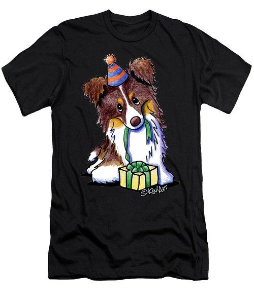 Tri Chocolate Border Collie Men's T-Shirt (Athletic Fit)