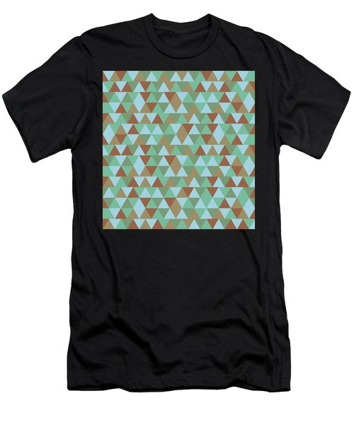 Triangular Geometric Pattern - Blue Green Brown Men's T-Shirt (Athletic Fit)