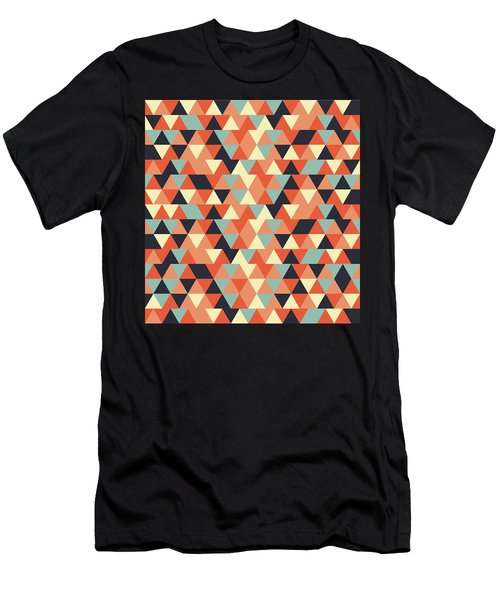 Triangular Geometric Pattern - Warm Colors 09 Men's T-Shirt (Athletic Fit)