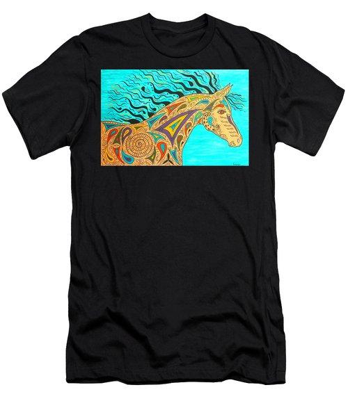Tribal Carnival Spirit Horse Men's T-Shirt (Slim Fit) by Susie WEBER