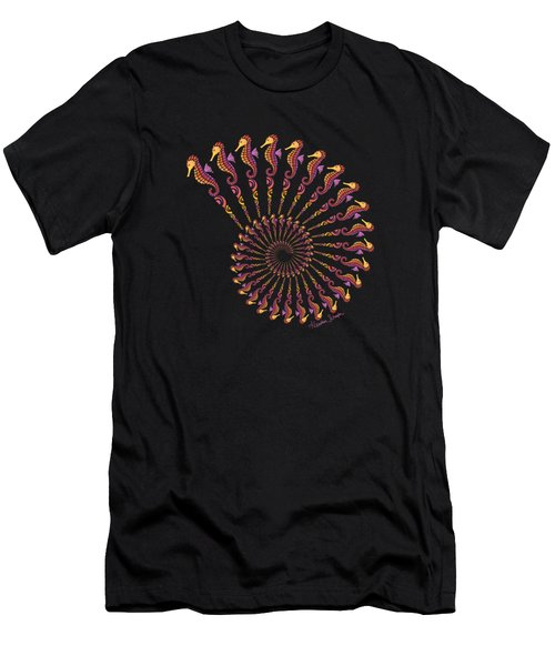 Tribal Seahorse Spiral Shell Men's T-Shirt (Athletic Fit)