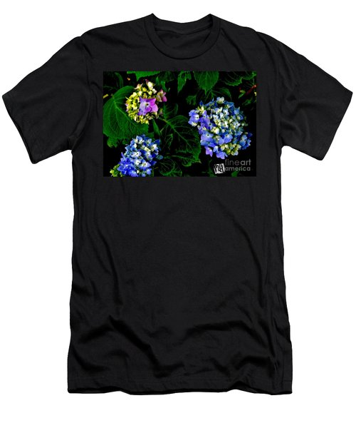 Men's T-Shirt (Slim Fit) featuring the photograph Triple Hydrangia In Spring by Marsha Heiken