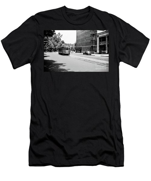 Men's T-Shirt (Athletic Fit) featuring the photograph Trolley With Packard Building  by Cole Thompson