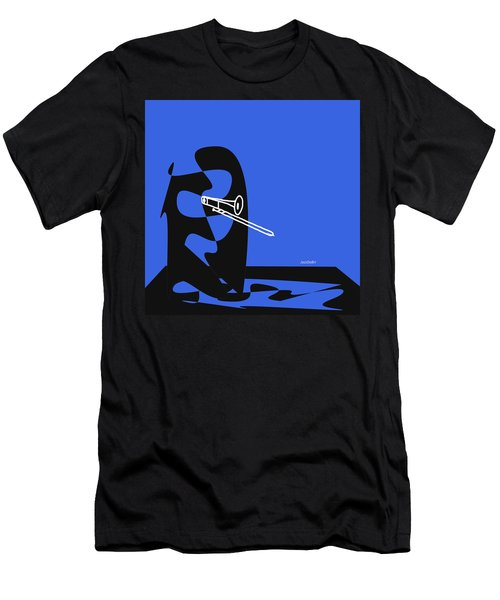Trombone In Blue Men's T-Shirt (Slim Fit) by David Bridburg