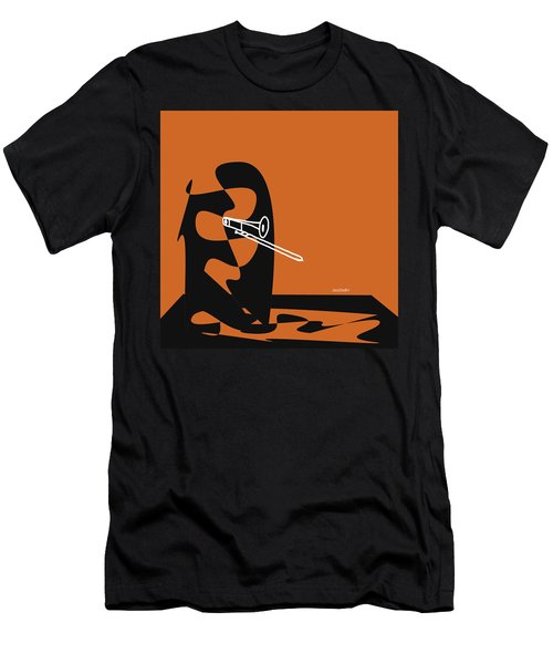 Trombone In Orange Men's T-Shirt (Slim Fit) by David Bridburg