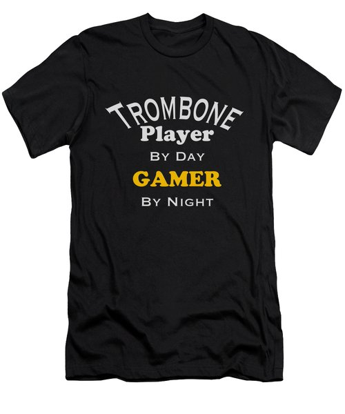 Trombone Player By Day Gamer By Night 5627.02 Men's T-Shirt (Slim Fit) by M K  Miller