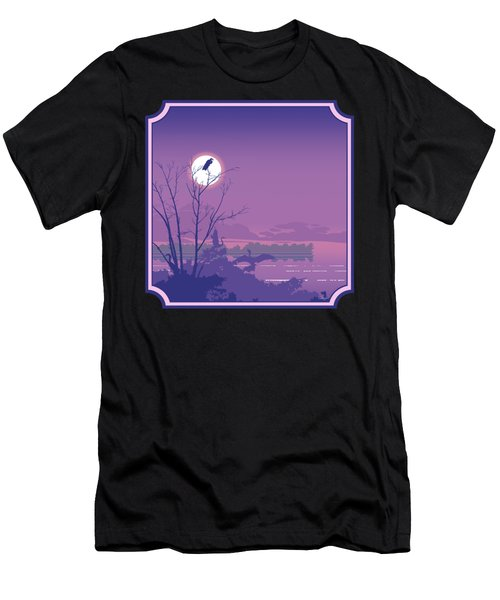 Tropical Birds Sunset Purple Abstract - Square Format Men's T-Shirt (Athletic Fit)