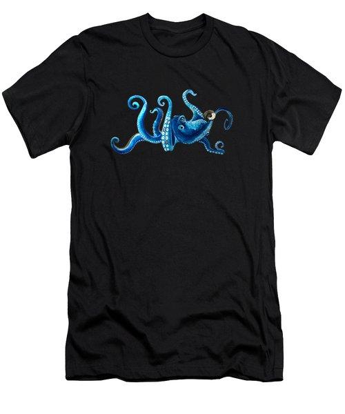 Tropical Blue Octopus Men's T-Shirt (Athletic Fit)