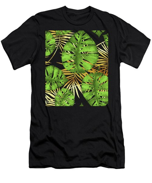 Tropical Haze Noir Green Monstera Leaves, Golden Palm Fronds On Black Men's T-Shirt (Athletic Fit)