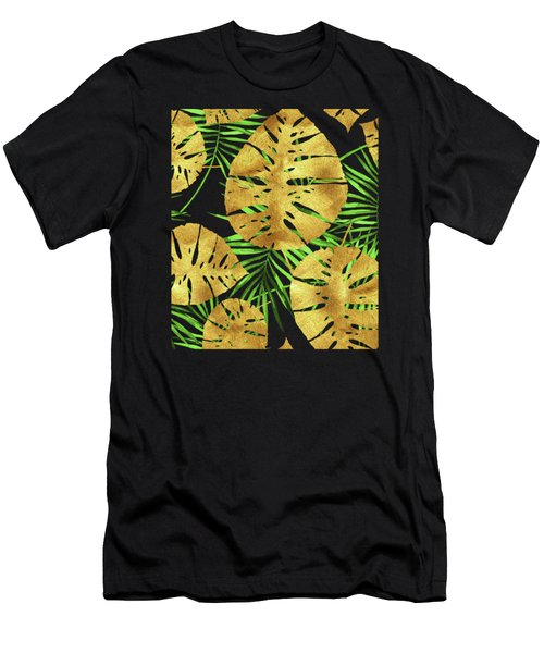 Tropical Haze Noir II Gold Monstera Leaves, Green Palm Fronds Men's T-Shirt (Athletic Fit)