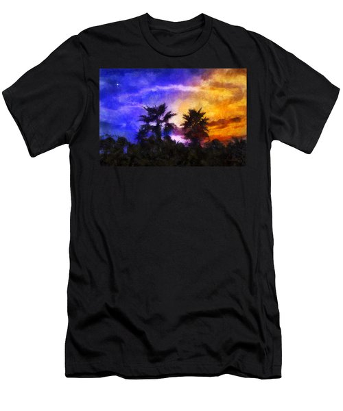 Men's T-Shirt (Slim Fit) featuring the digital art Tropical Night Fall by Francesa Miller