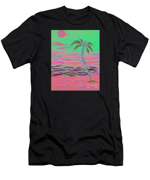 Hot Pink Coconut Palm Men's T-Shirt (Athletic Fit)