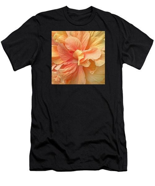 Tropical Peach Hibiscus Flower Men's T-Shirt (Athletic Fit)
