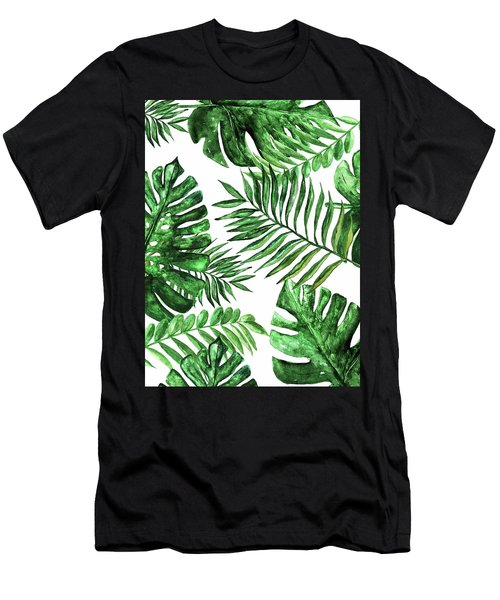 Tropical Print Green 3 Men's T-Shirt (Athletic Fit)