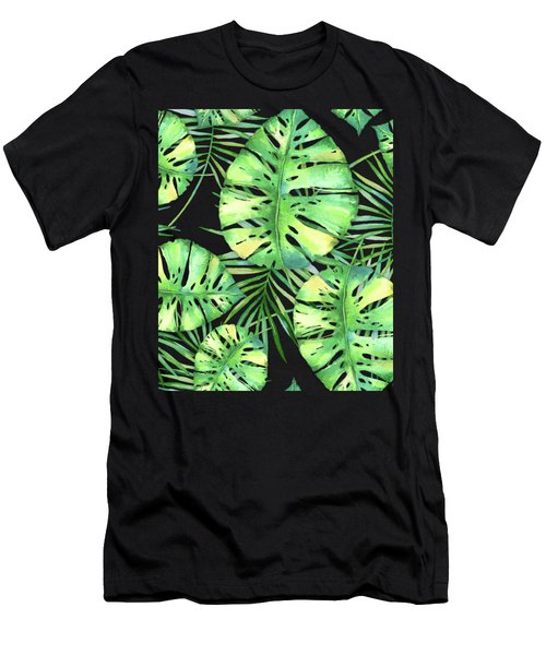Tropics Noir, Tropical Monstera And Palm Leaves At Night Men's T-Shirt (Athletic Fit)