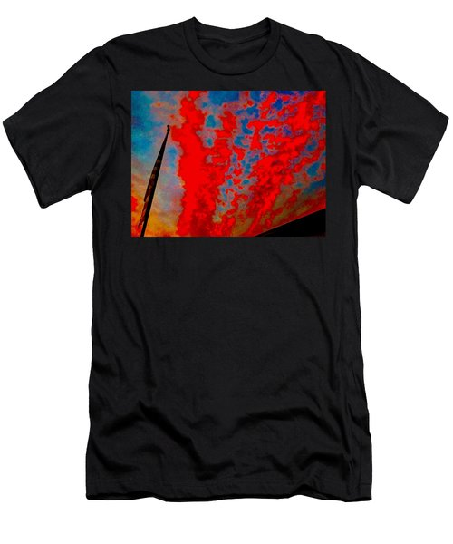 Trump Red Sunset Meets American Flag Men's T-Shirt (Athletic Fit)