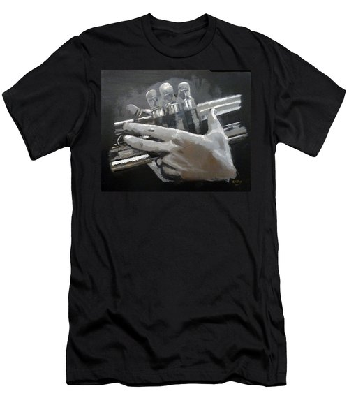 Men's T-Shirt (Athletic Fit) featuring the painting Trumpet Hands by Richard Le Page