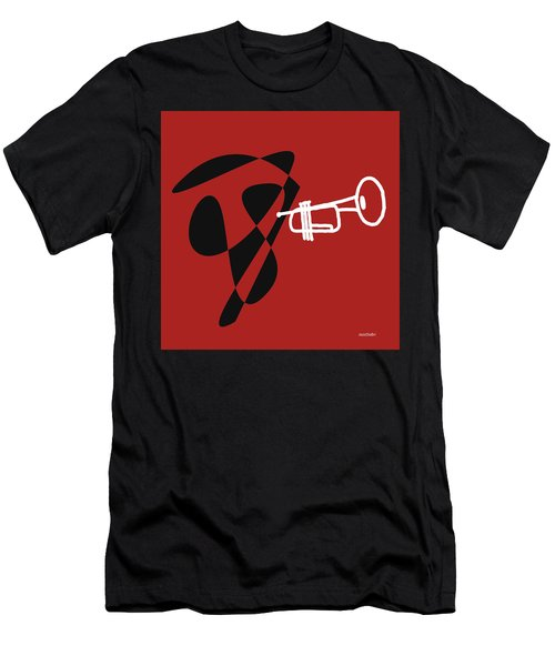 Trumpet In Orange Red Men's T-Shirt (Slim Fit) by David Bridburg