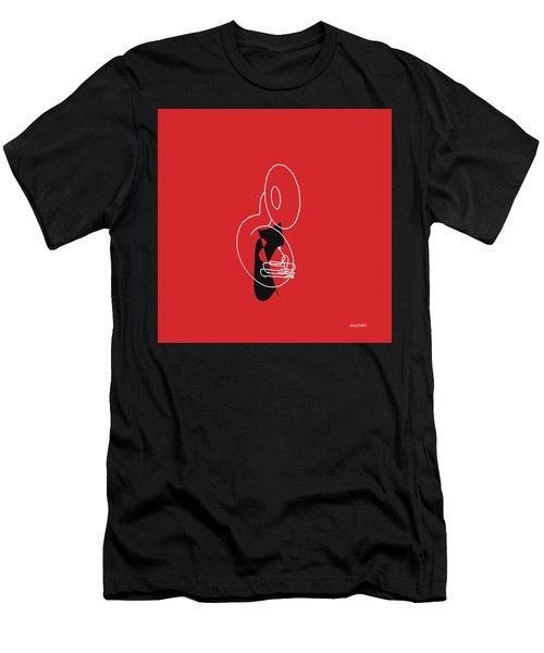 Tuba In Red Men's T-Shirt (Athletic Fit)