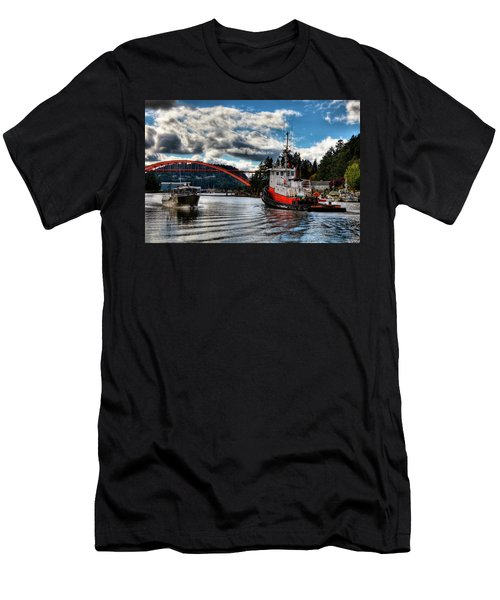 Tugboat At The Rainbow Bridge Men's T-Shirt (Slim Fit) by David Patterson