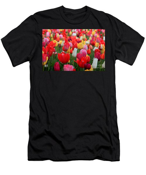 Men's T-Shirt (Athletic Fit) featuring the photograph Tulip Color Mix by Peter Simmons
