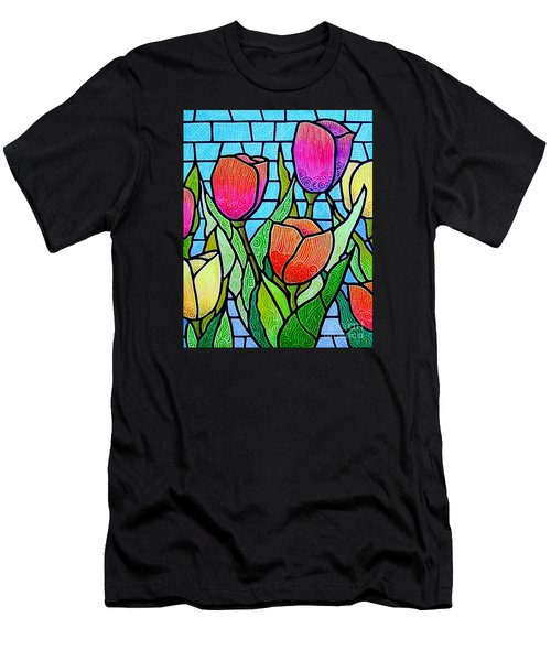 Tulip Garden Men's T-Shirt (Slim Fit) by Jim Harris