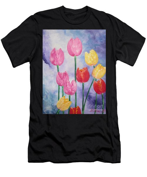 Ten  Simple  Tulips  Pink Red Yellow                                Flying Lamb Productions   Men's T-Shirt (Athletic Fit)
