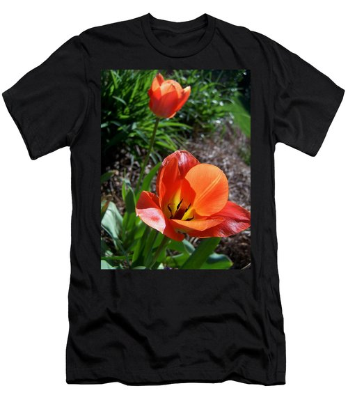 Men's T-Shirt (Slim Fit) featuring the photograph Tulips Wearing Orange by Sandi OReilly