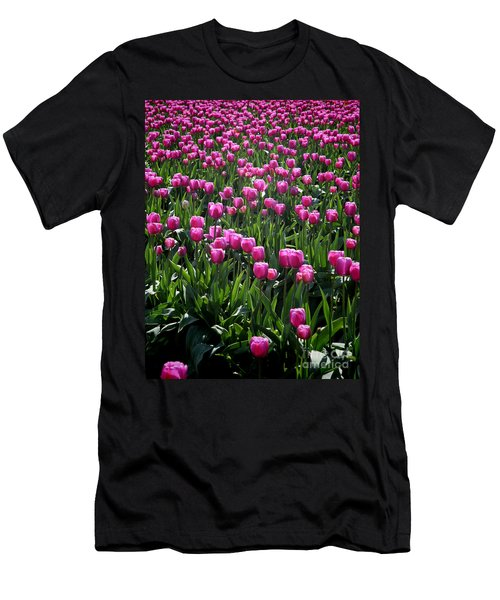 Men's T-Shirt (Athletic Fit) featuring the photograph Purple Tulips by Peter Simmons
