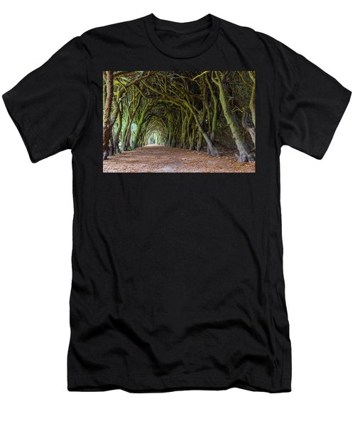 Men's T-Shirt (Slim Fit) featuring the photograph Tunnel Of Intertwined Yew Trees by Semmick Photo