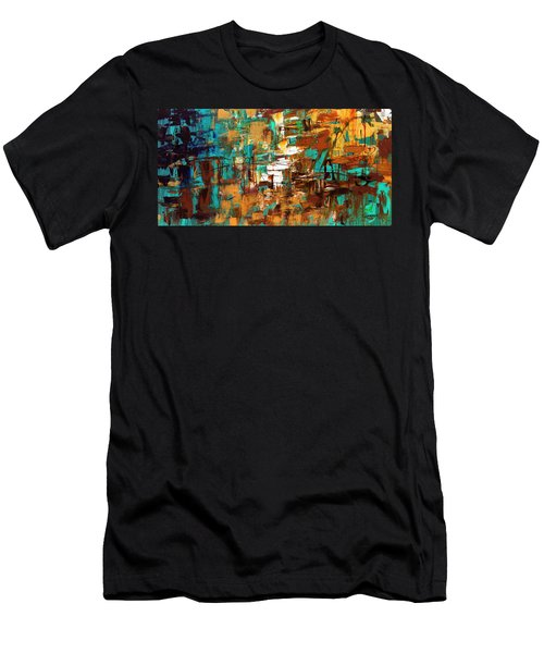 Men's T-Shirt (Slim Fit) featuring the painting Turquoise Scent by Carmen Guedez