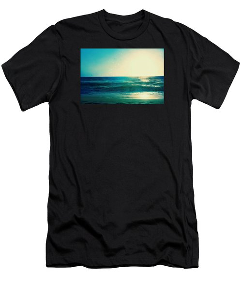 Turquoise Waves Men's T-Shirt (Athletic Fit)