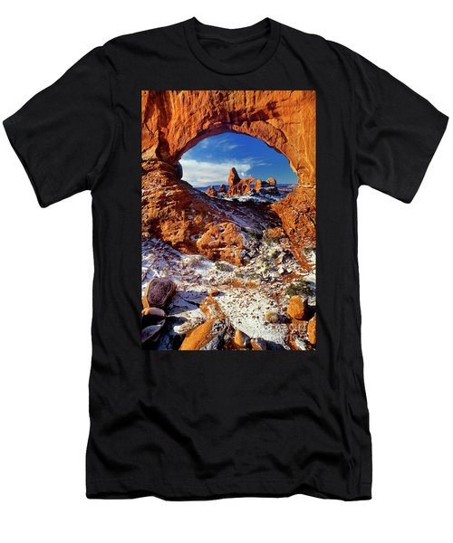 Turret Arch Through North Window Arches National Park Utah Men's T-Shirt (Athletic Fit)