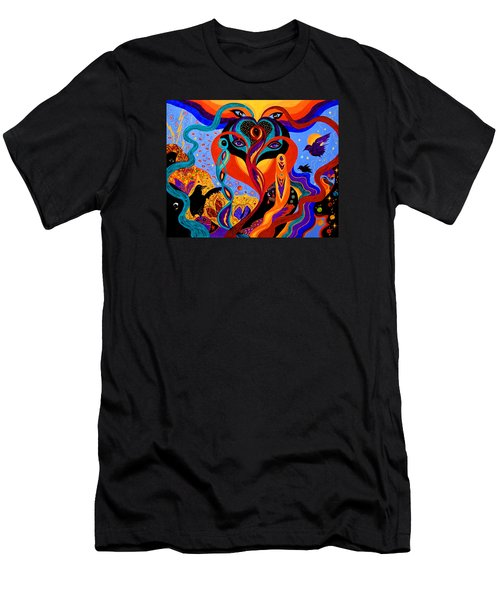 Men's T-Shirt (Slim Fit) featuring the painting Karmic Lovers by Marina Petro