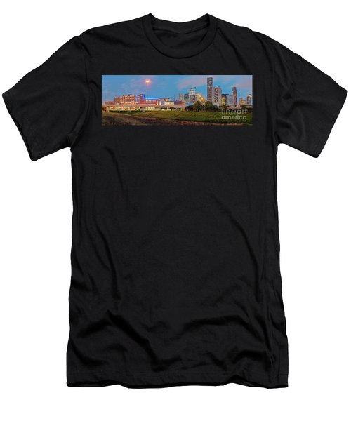 Twilight Panorama Of Downtown Houston Skyline And University Of Houston - Harris County Texas Men's T-Shirt (Athletic Fit)