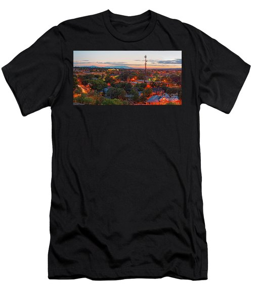 Twilight Panorama Of Downtown Santa Fe From Cross Of The Martyrs - New Mexico  Men's T-Shirt (Athletic Fit)