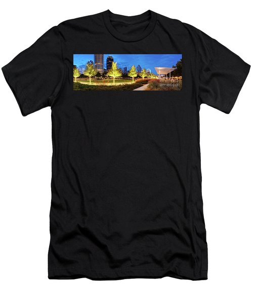 Twilight Panorama Of Klyde Warren Park And Downtown Dallas Skyline - North Texas Men's T-Shirt (Athletic Fit)