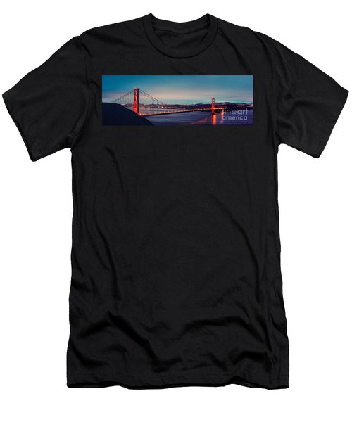 Twilight Panorama Of The Golden Gate Bridge From The Marin Headlands - San Francisco California Men's T-Shirt (Athletic Fit)