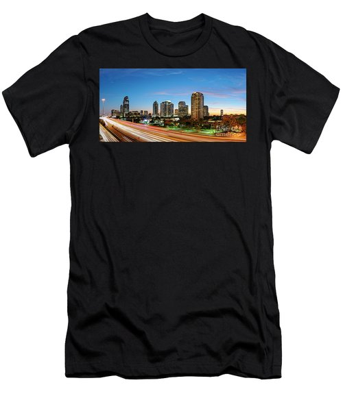 Twilight Panorama Of Uptown Houston Business District And Galleria Area Skyline Harris County Texas Men's T-Shirt (Athletic Fit)