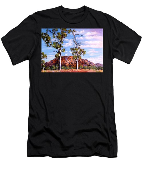Men's T-Shirt (Athletic Fit) featuring the painting Twin Ghost Gums Of Central Australia by Ryn Shell